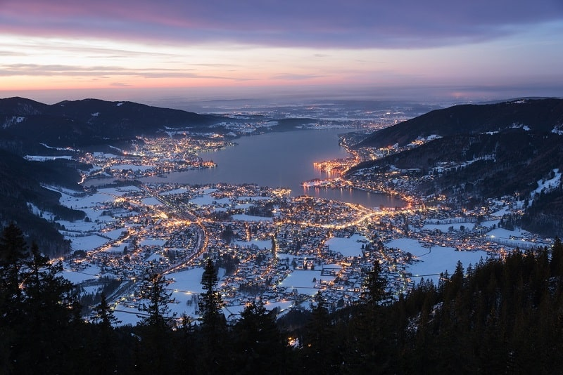Lake Tegernsee after sunset photographed from mount Wallberg, Bavaria, Germany_shutterstock_257200972.jpg